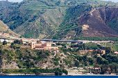 stock photo of messina  - Highways along the Italian coast near the Straights of Messina - JPG
