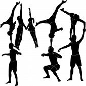 stock photo of break-dance  - Gymnasts acrobats representation people aerobics dance art - JPG