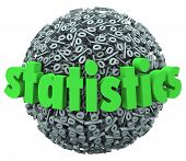 pic of mathematics  - Statistics word on percentage sign ball or sphere study of mathematical probability - JPG