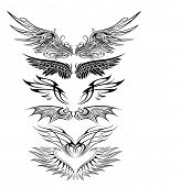 stock photo of eagles  - illustration of great Ornaments Eagle Wing Silhouette with white background - JPG