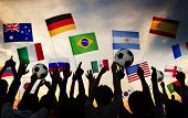 stock photo of japanese flag  - Silhouettes of People Gathered for 2014 FIFA World Cup - JPG