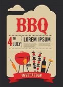 stock photo of grill  - 4th of July BBQ party invitation - JPG