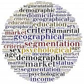 image of market segmentation  - Word cloud illustration related to strategic marketing management market segmentation analysis - JPG