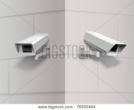 Surveillance cameras on wall