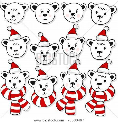 polar bears christmas winter holidays set on dark