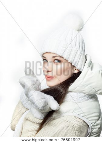 closeup portrait of attractive  caucasian smiling woman brunette isolated on white studio shot lips  face hair head and shoulders looking at camera warm clothing winter christmas