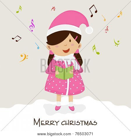 Cute little girl singing jingle on musical notes decorated background for Merry Christmas celebrations.