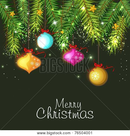 Merry Christmas celebration poster, banner or flyer with colorful hanging balls and fir leaves on green background.