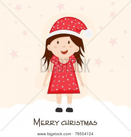 Cute cartoon of a little girl in Santa hat on star decorated background for Merry Christmas celebrations.