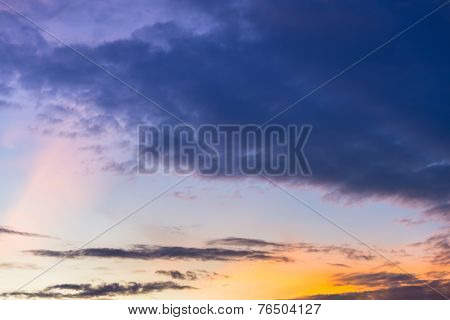 Golden Light With Twilight Sky In Sunset Time