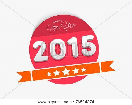 Happy New Year celebration sticker or label in red color with stylish text on grey background.