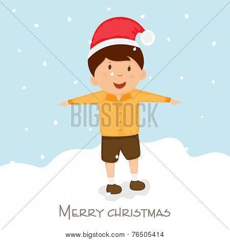 Cute little boy in Santa cap playing on snow covered winter background for Merry Christmas celebrations.