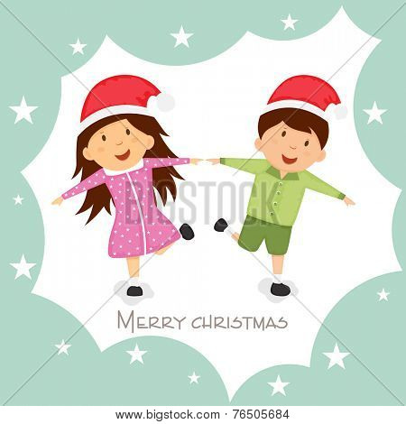 Cute little kids in Santa cap playing on occasion of Merry Christmas festival.