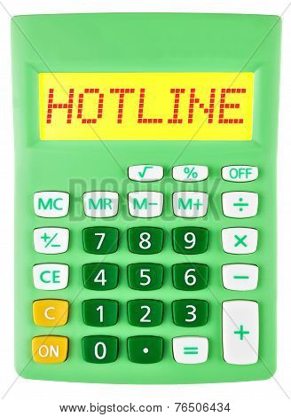 Calculator With Hotline On Display Isolated