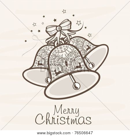 Floral decorated jingle bells for Merry Christmas celebration on beige background.