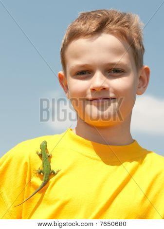 Smiling Boy With Lizard