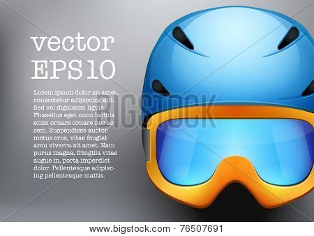 Background of Classic Ski helmet and orange snowboard goggles. Vector isolated on white background