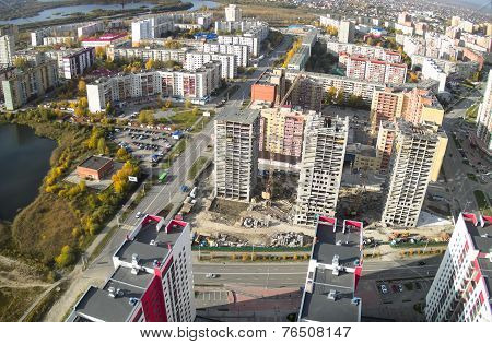 Bird eye view on residential districts in Tyumen