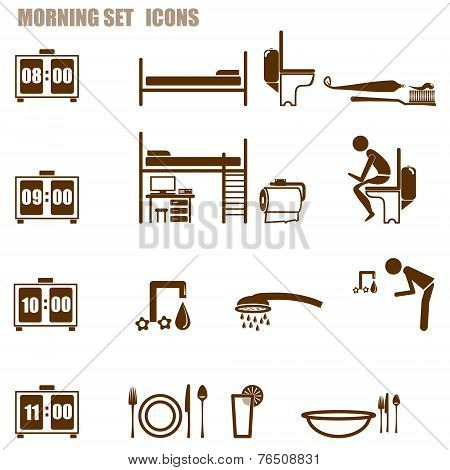 morning person icon set