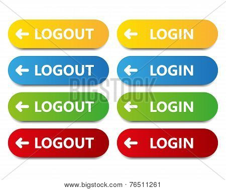 Vector color button log in log out