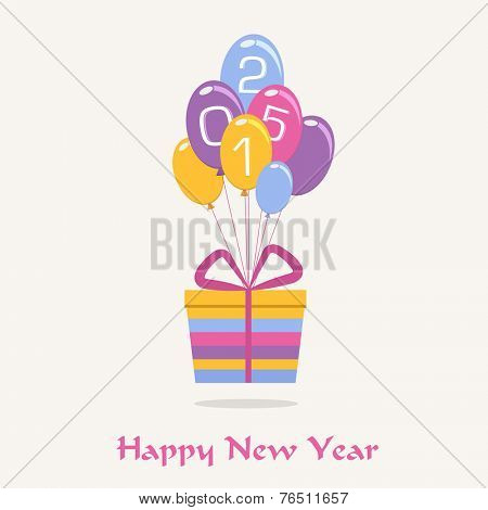 Happy New Year celebrations with colorful gift box and balloons with stylish text 2015 on beige background.
