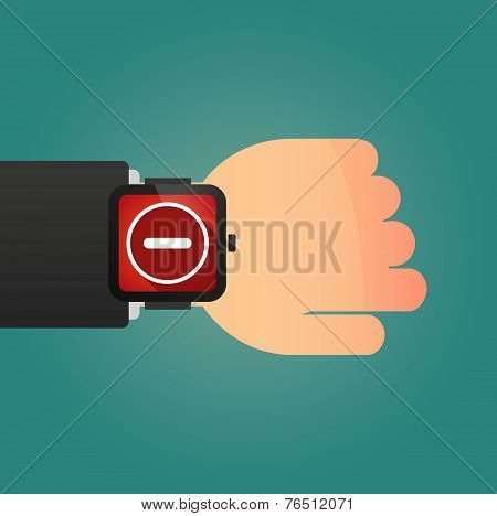 Hand Wearing A Smart Watch Displaying A Subtraction Sign