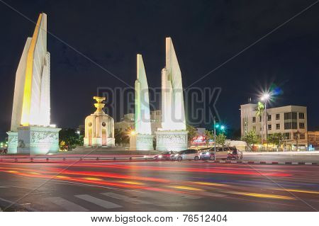 Traffic Light At Night On Intersection Of Democracy Monument