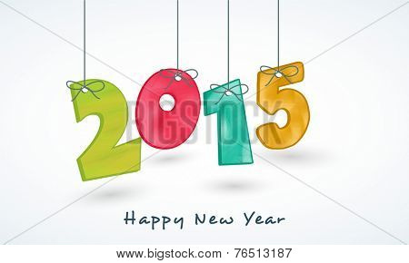 Stylish colorful hanging text 2015 on shiny blue background for Happy New Year celebrations.