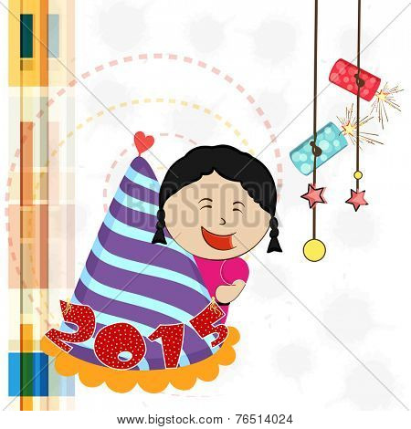 Cute little girl holding cap with stylish text 2015 on abstract background for Happy New Year celebrations.