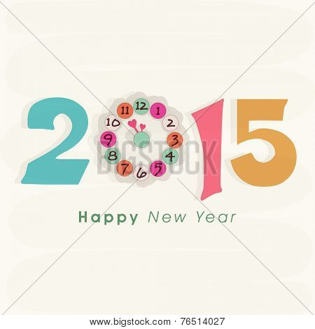 Stylish text with clock showing almost twelve 'o' clock on beige background for Happy New Year celebrations.