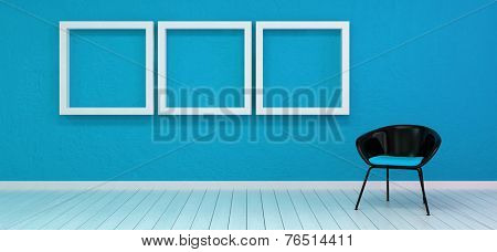 3D Rendering of Unoccupied black chair in an art gallery or a lobby with white wooden floor and three empty square frames aligned on a blue wall