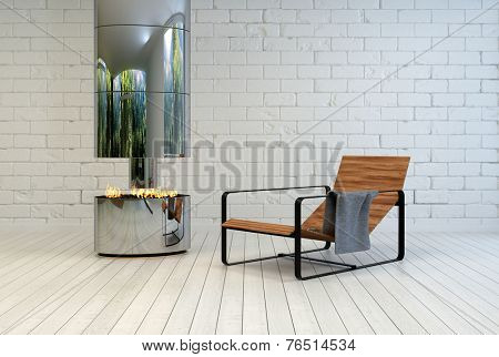 3D Rendering of Contemporary wooden slatted metal recliner chair near an open stainless steel chimney and fire in a white painted room with brick walls and wooden floor in a relaxing living space