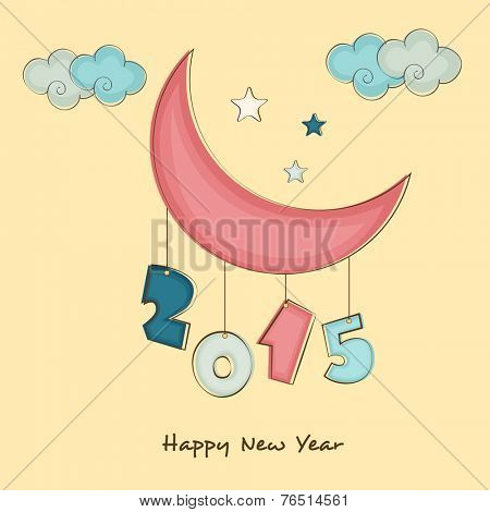 Happy New Year celebration with stylish text 2015 hanging from crescent moon on cloud and stars decorated background.