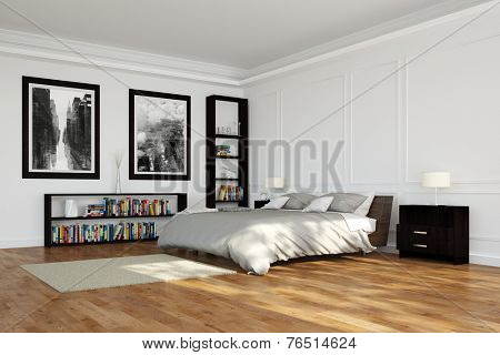 Spacious bedroom with bed and shelves with books (3D Rendering)