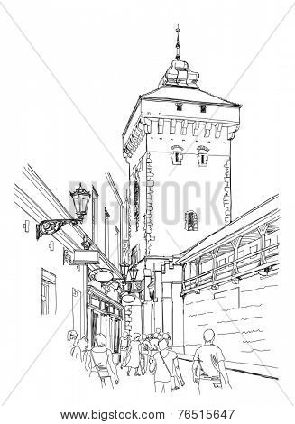 Krakow. Poland. Tower of city wall. Black & white vector sketch