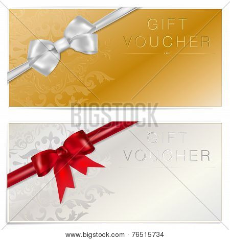 Gold And Silver Gift Voucher With Bow