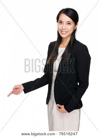 Businesswoman with finger point down