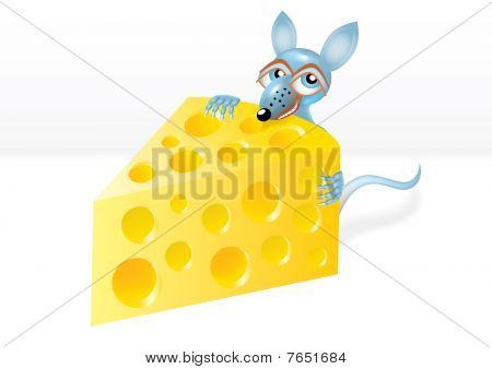 Mouse Is Stealing A Piece Of Cheese