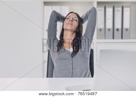 Young Businesswoman Enjoying A Relaxing Moment