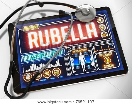 Rubella on the Display of Medical Tablet.