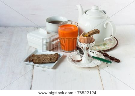 Breakfast set with egg and juice