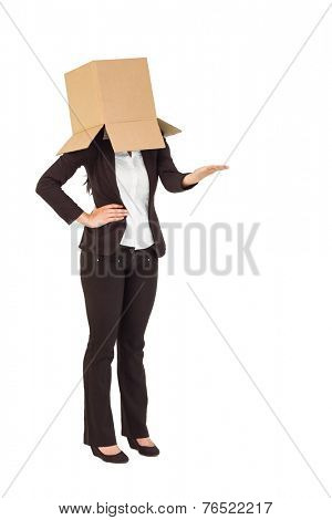 Businesswoman presenting with box over head on white background