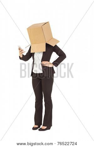Anonymous businesswoman sending a text on white background