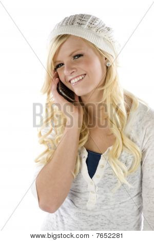 Girl In Blue And White On Phone