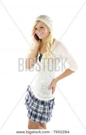 Girl In Blue Skirt On Phone