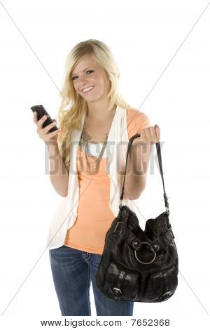Girl Orange Shirt And Purse Texting Looking