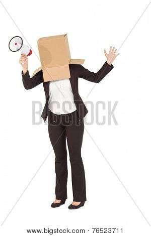 Anonymous businesswoman holding a megaphone on white background