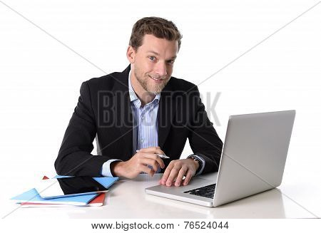 Young Attractive Businessman Working Happy At Computer Desk Satisfied And Smiling Relaxed