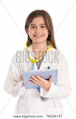 Little girl pretending to be a doctor on white background