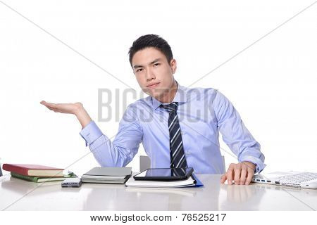 young Asian businessman working on computer, at his desk with hands gesture